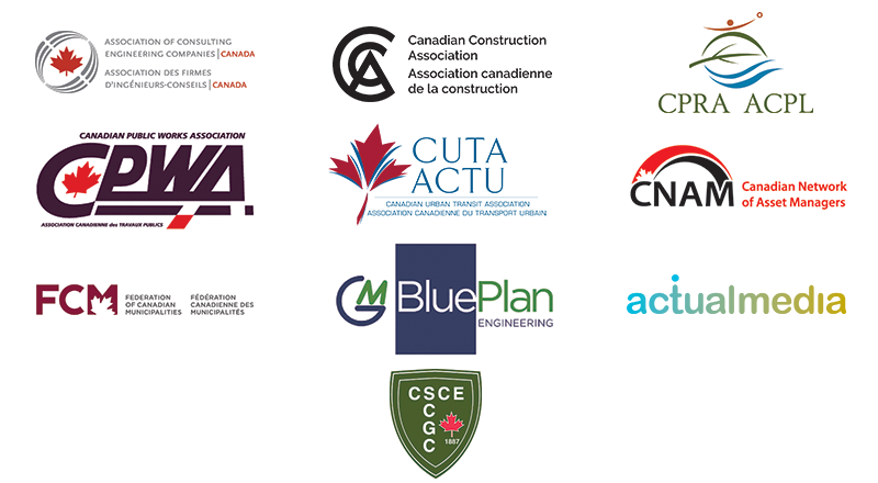 Organizational logos: The Association of Consulting Engineering Companies Canada (ACEC), the Canadian Construction Association (CCA), the Canadian Parks and Recreation Association (CPRA), the Canadian Public Works Association (CPWA), the Canadian Society for Civil Engineering (CSCE), the Canadian Urban Transit Association (CUTA), the Canadian Network of Asset Managers (CNAM), the Federation of Canadian Municipalities (FCM), BluePlan Engineering and Actual Media.